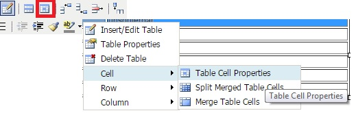 sortierbare Tabelle - Table Cell Properties erreichen